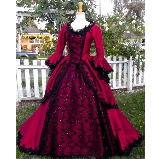 9136a1c409a7d Gothic Sleeping Beauty Princess Medieval Red and Black Wedding Dress ...