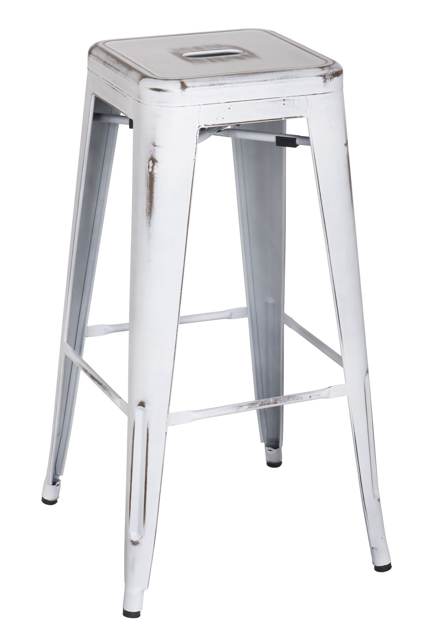 white backless bar stools. Metropolis Metal Backless Bar Stool, Distressed White (Set Of 4) Stools N