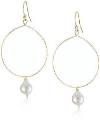 Lulu Designs Retro White Baroque Pearl Hoop Earrings Jewelry
