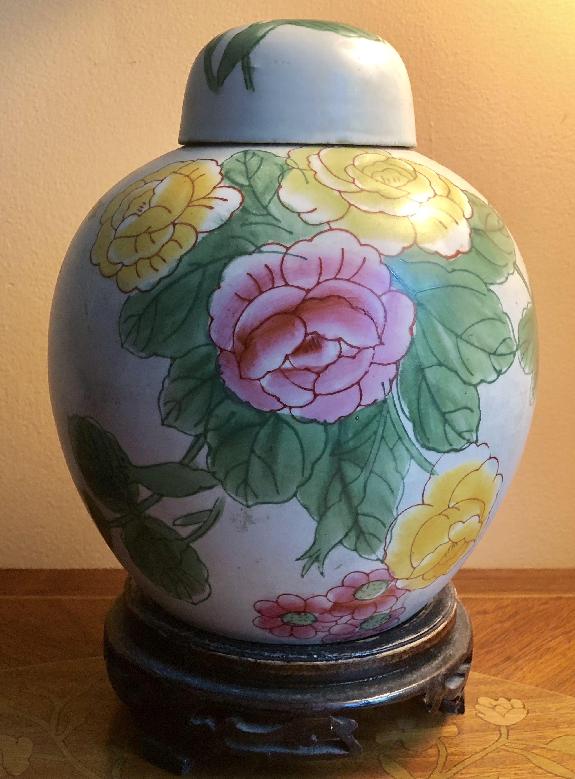 "Ginger Vase 10"" X 7"". antiques and collectibles unique"