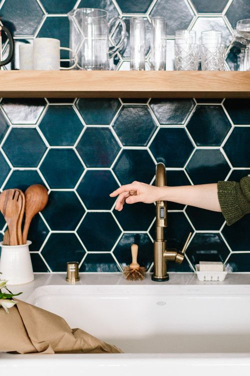 Navy Blue Hexagon Kitchen Backsplash By Fireclay Tile Bathroom Backsplash Diy Fireclay Tile Hexagon Tile Backsplash