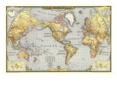 1943 world map 1943 world map art print by national geographic maps at art gumiabroncs Choice Image