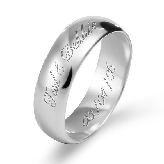 white-gold-band-with-name-and-date-etched | Name Engraved ...