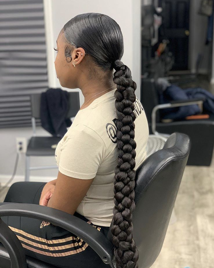 @barbie_doll3🧚🏽‍♀️ in 2020 | Braided ponytail hairstyles, Sleek braided ponytail, Weave ponytail ...