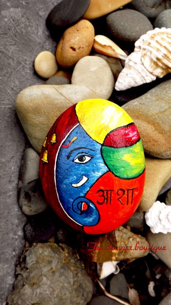 stone asian indian art lord ganesha painted rock meditation hindu pray stone