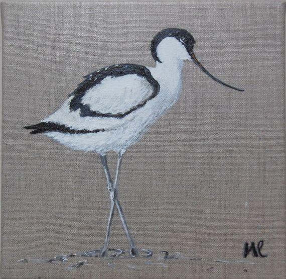 tableau oiseau avocette peinture animali re sur toile. Black Bedroom Furniture Sets. Home Design Ideas