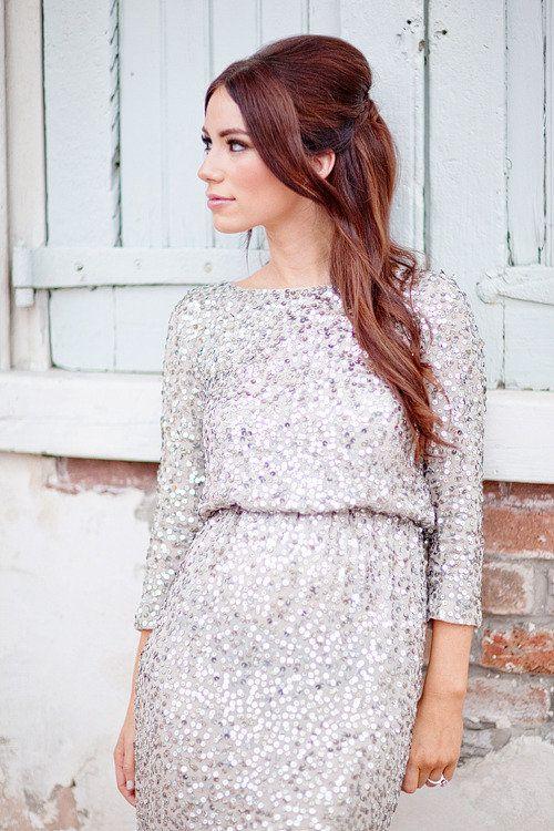 Beautiful Silver Wedding Guest Dress Winter Bridesmaid