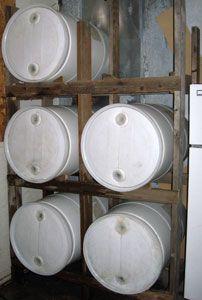 6 barrel storage rack ~ my husband will love this! & DIY: Horizontal Storage of 55 gal. Water Barrels possibly easier as ...