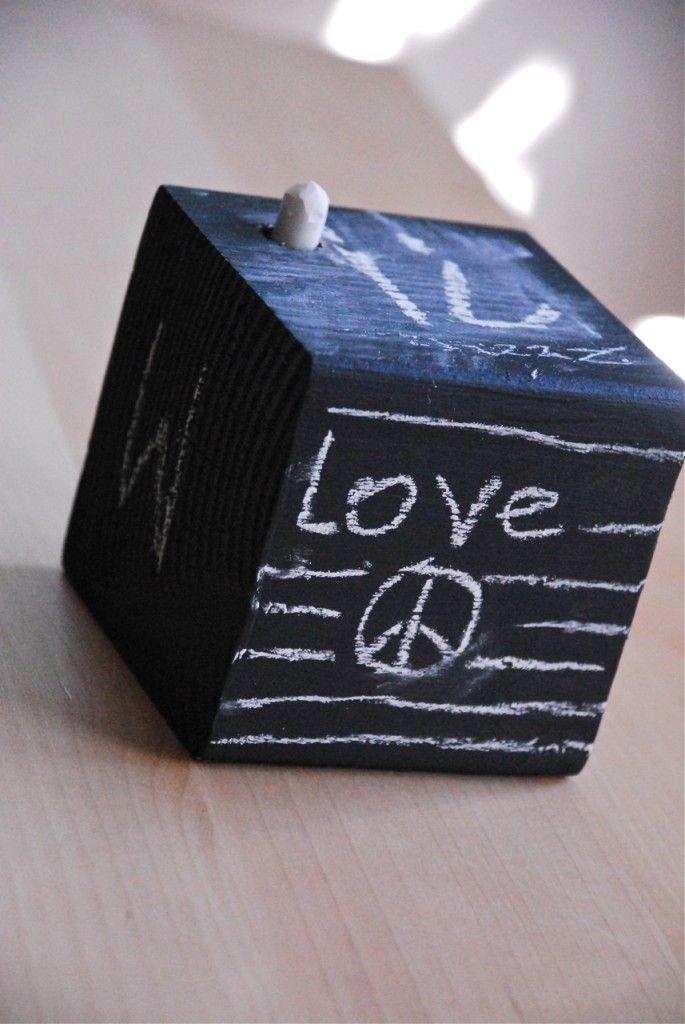 Chalkboard Wooden Cube