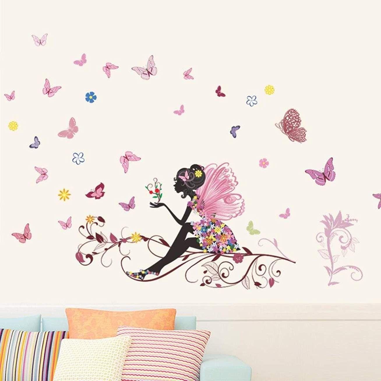 120cm*80cm Eenkula Nouvelle Mode Chambre Salon Wall Stickers Papillon Fleur F/ée Autocollants
