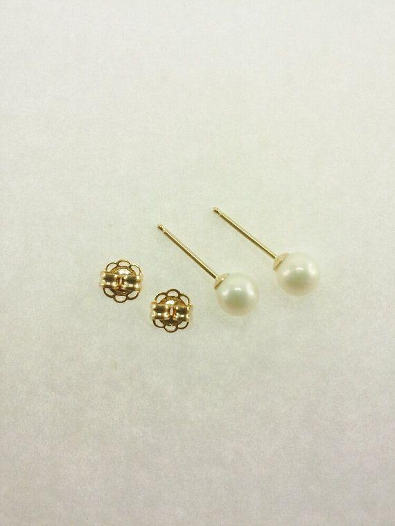 14KYG 4mm White Freshwater Pearl Earring Studs by PearlsCanada