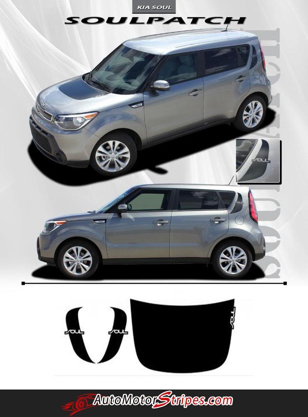 2010 2013 Kia Soul Patch Factory Style Hood And Side Accent Vinyl Graphics 3m Decals Striping Kia Soul Kia Soul Accessories Kia