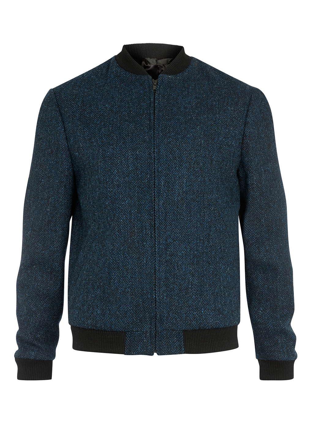 Harris Tweed Blue Pure Wool Bomber Jacket Wool Bomber