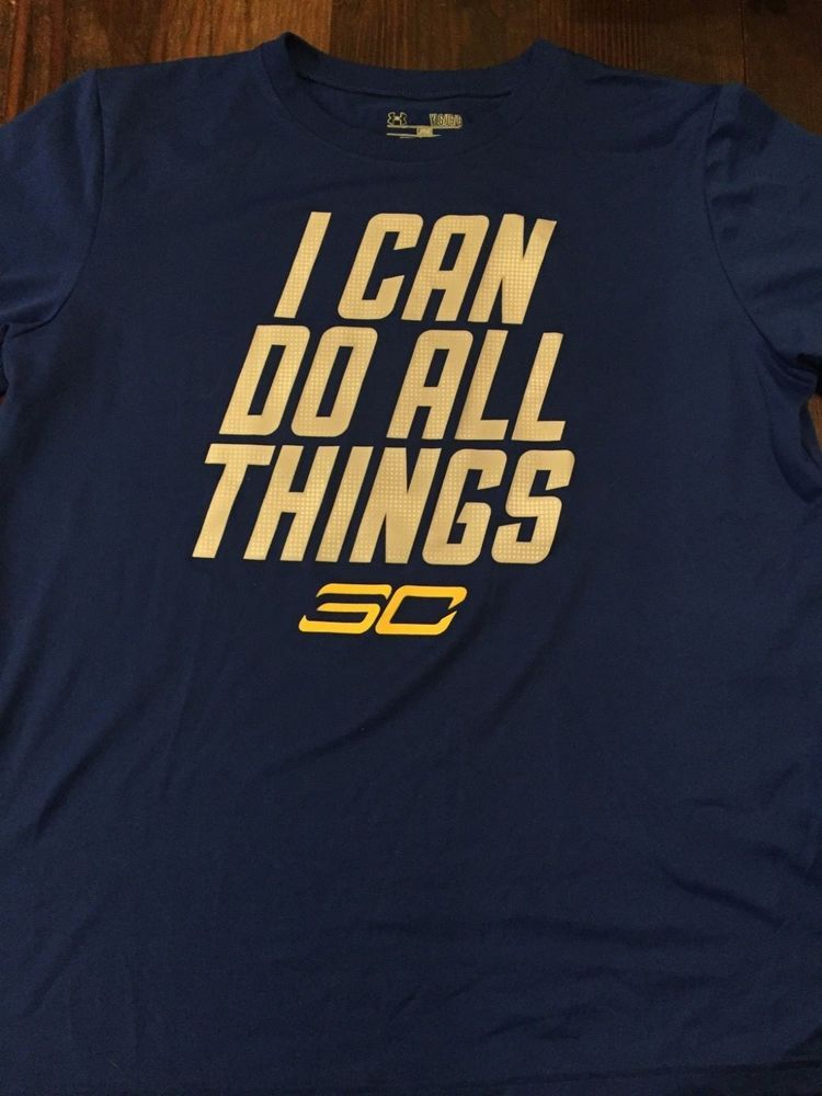 c4c8d5301c3d3 Boys Under Armour Blue SC I Can Do All Things Loose Heat Gear Size Large   Underarmour