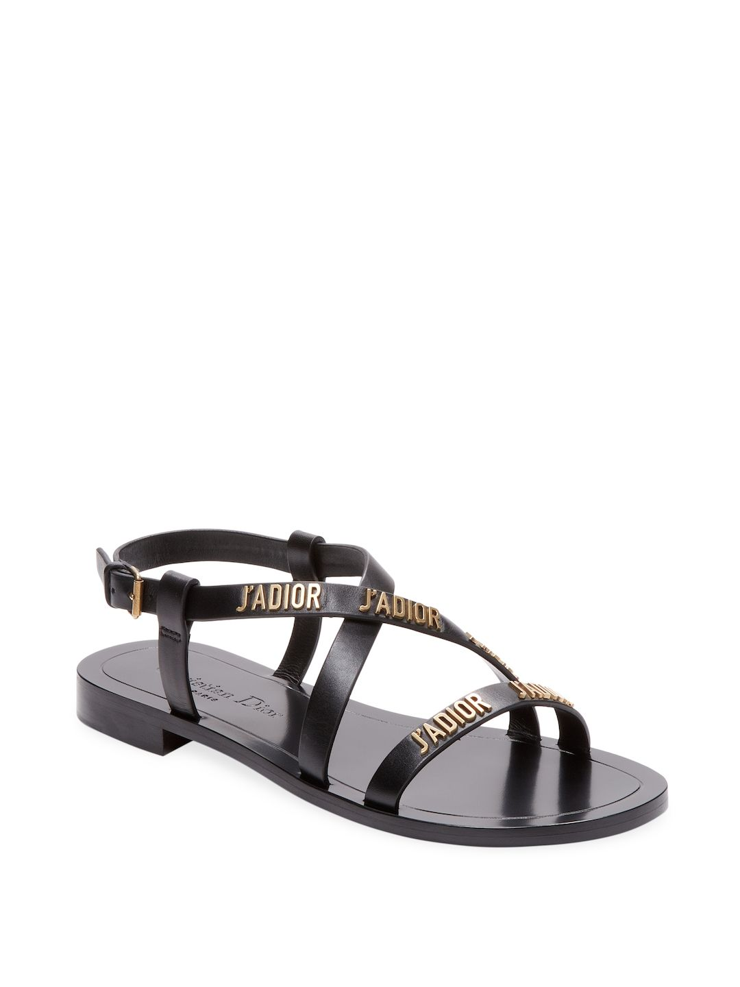 eb91c45127b01 DIOR WOMEN S LEATHER FLAT SANDAL - BLACK