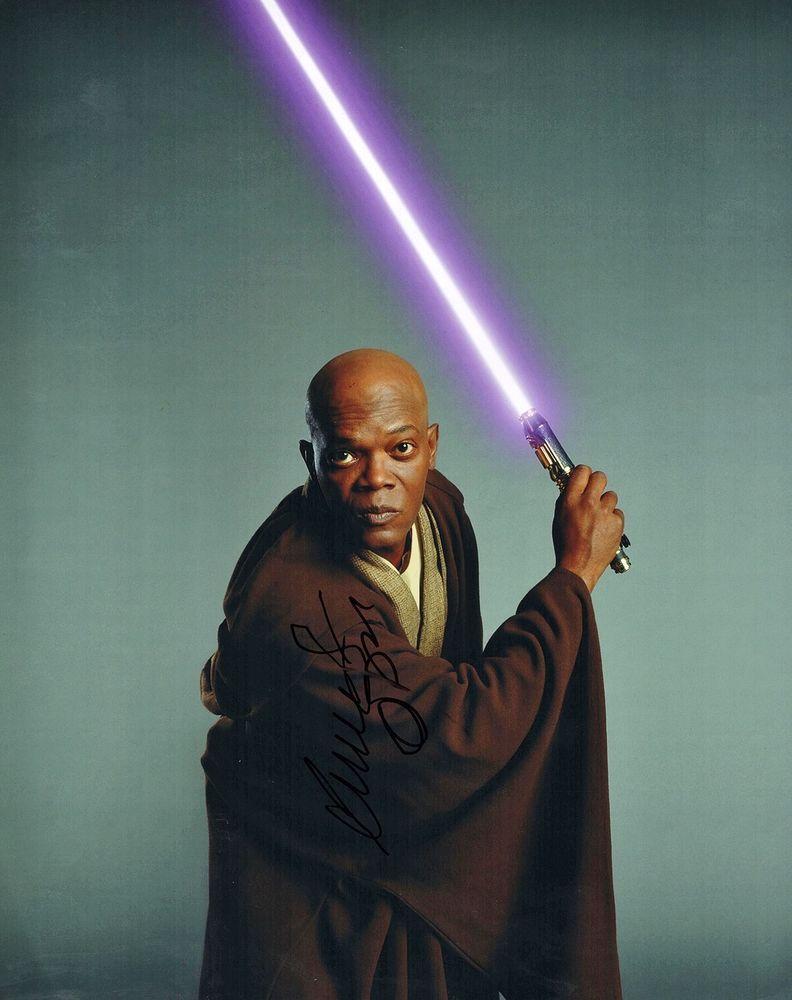 Samuel L Jackson Star Wars : samuel, jackson, Samuel, Jackson, Autographed, 11x14, Photo, Revenge, Windu