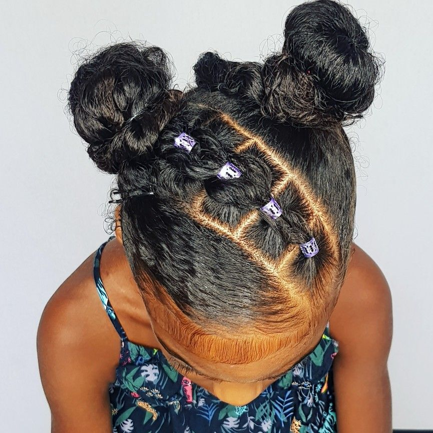 Buns With Pull Through Braids Hairstyle For Curly Little Girls Girls Natural Hairstyles Baby Hairstyles Kids Braided Hairstyles