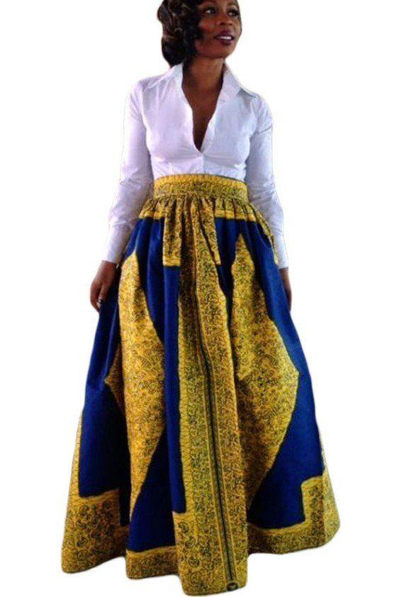Jupe longue en pagne africain jaune bleu imprime jupe for Travailleuse couture pas cher