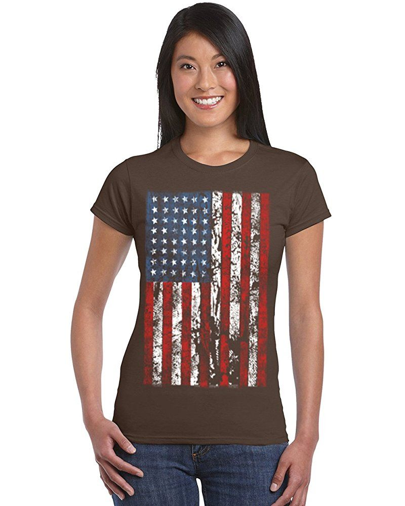 American Flag Distressed Women S T Shirt Cool Fashion Design Patriotic Shirts Dark Chocolate Small With Images T Shirts For Women Patriotic Shirts Shirts Women Fashion