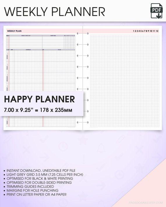 Weekly Happy Planner Printable Inserts Undated WoP Weekly