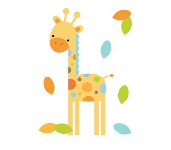 SAFARI ANIMAL DECAL Giraffe Wall Art Boy Jungle Nursery Stickers ...