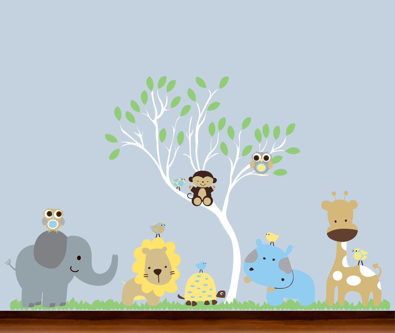baby nursery jungle curvy tree and animals set vinyl wall art baby nursery jungle curvy tree and animals set vinyl wall art decal 129 00