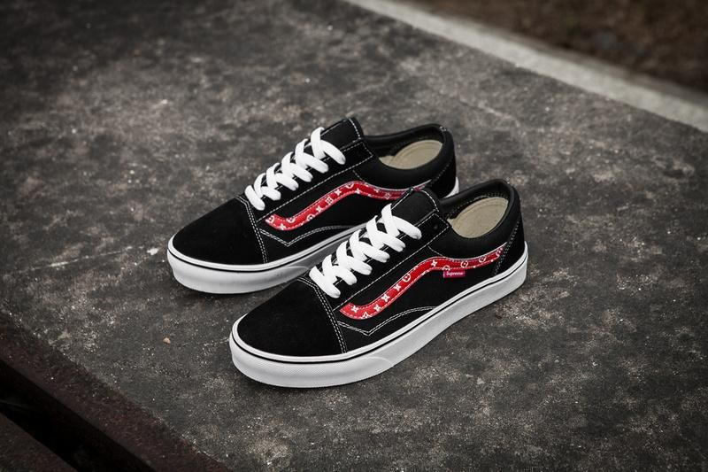 Champion X supreme X Vans Old Skool Black Skate Shoes