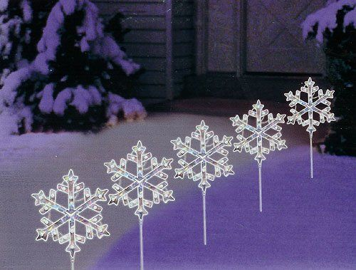 2999 3499 set of 5 lighted holographic snowflake christmas pathway markers clear lights httpwwwamazoncomdpb005tnaa3ktagpin2wine 20