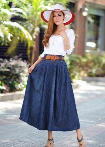 Длинная джинсовая (макси) юбка (54 фото): с чем носить, в ...