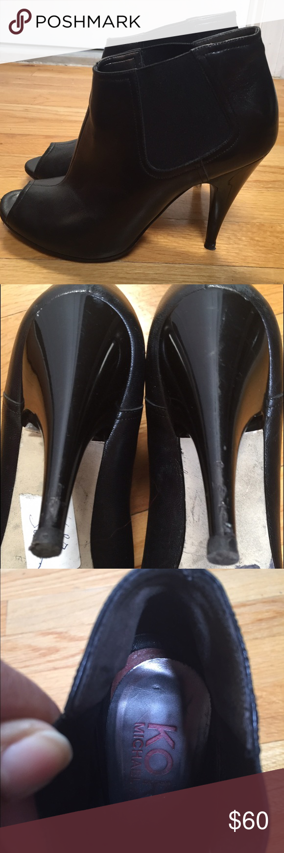 Michael Kors Peep Toe Booties Black leather designer peep toe heels. Recently re-soles. A few scuff marks on heels. Slight wear on inside heel cushion area. MICHAEL Michael Kors Shoes Ankle Boots & Booties