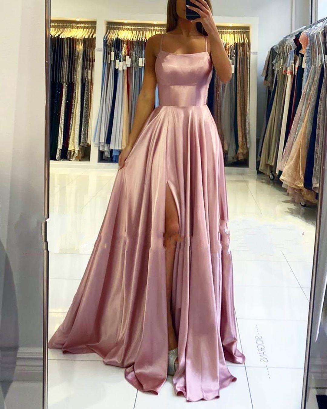 Schlichte Abendkleider Lang Rosa  Abendmoden Online