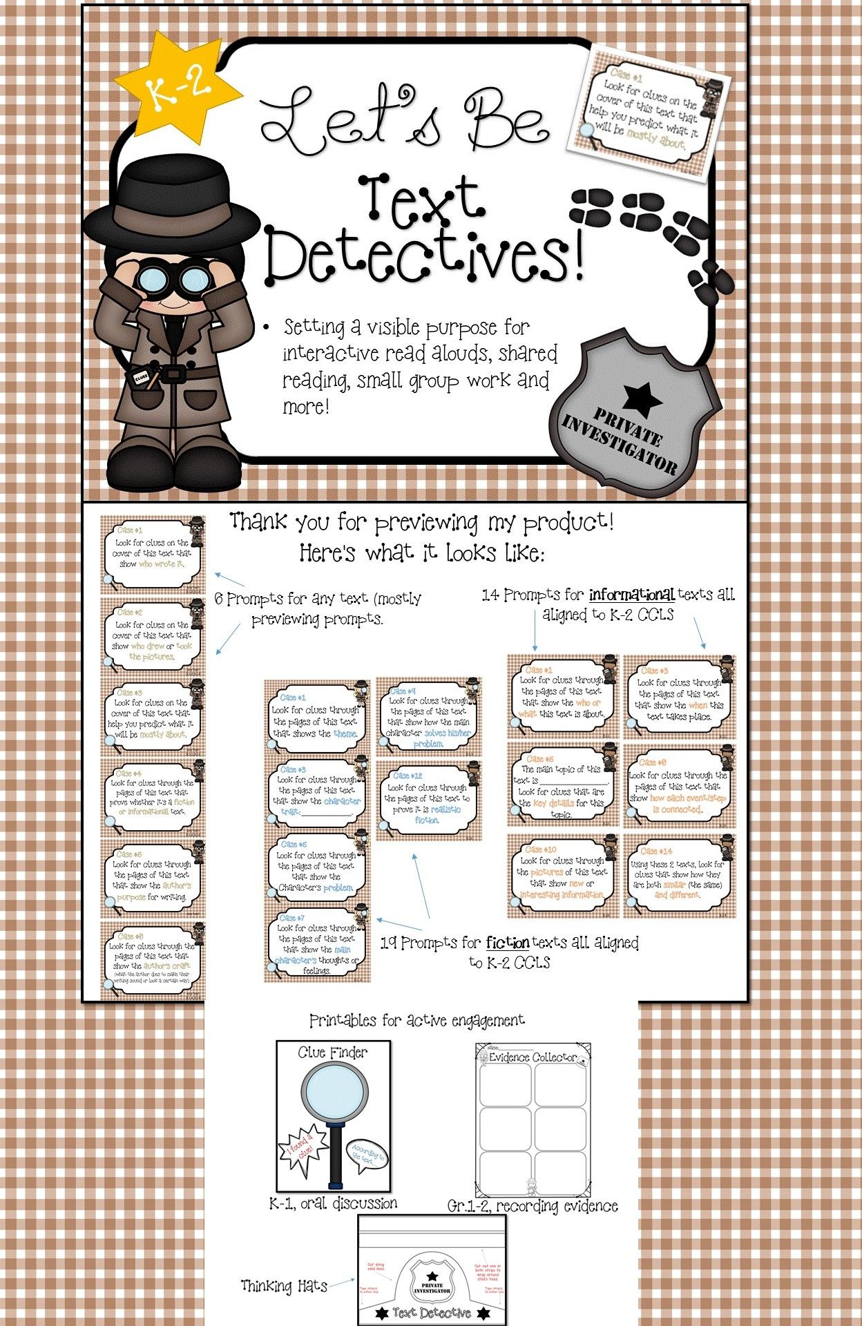 Ela Common Core For K 2 Text Detectives
