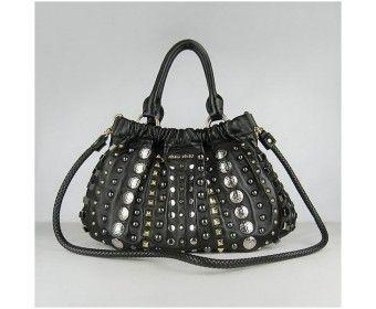 f9dc2d02cb8 Miu Miu Studded Leather Shoulder Bag Sale Black Miu Miu bags