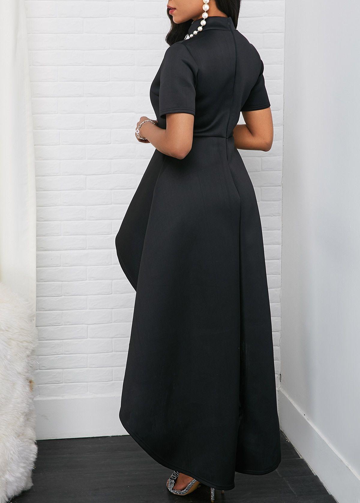 Mock Neck Short Sleeve Black High Low Dress Rotita Com Usd 37 57 Black High Low Dress Dresses High Low Dress [ 1674 x 1200 Pixel ]