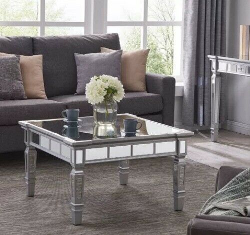 mirrored coffee table hollywood glam square cocktail matte