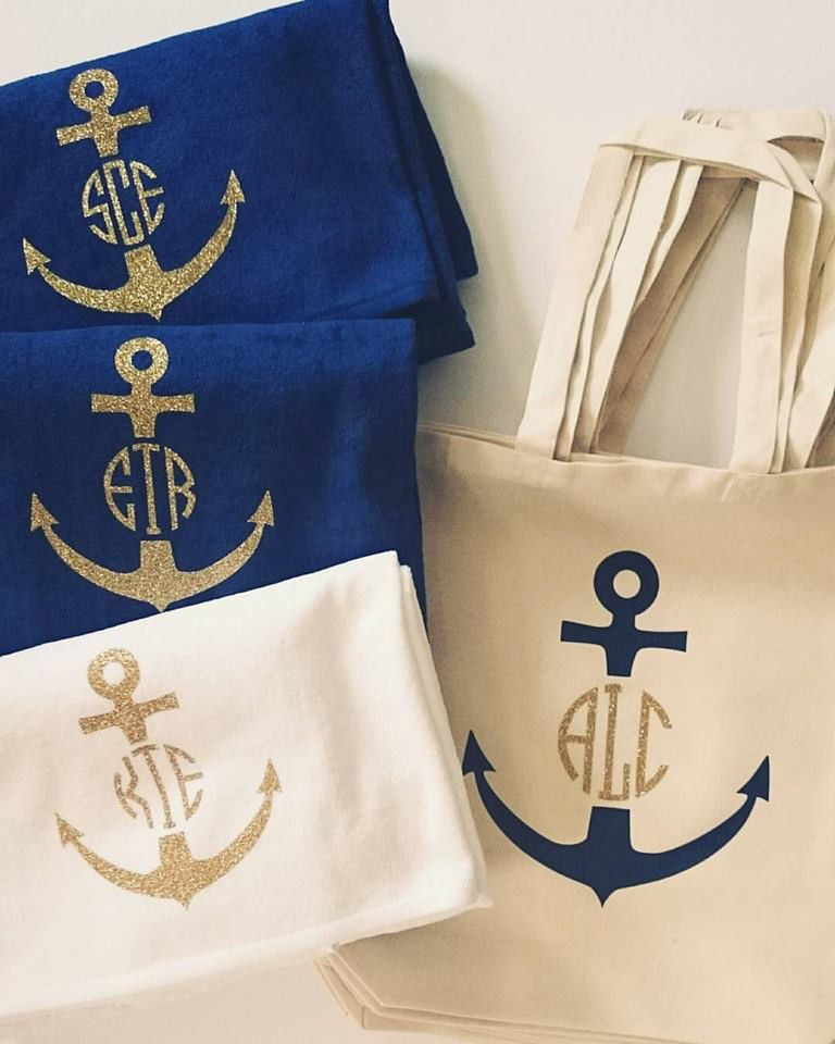 Monogrammed Beach Towel And Bag Set: Anchor Monogrammed Tote Bag