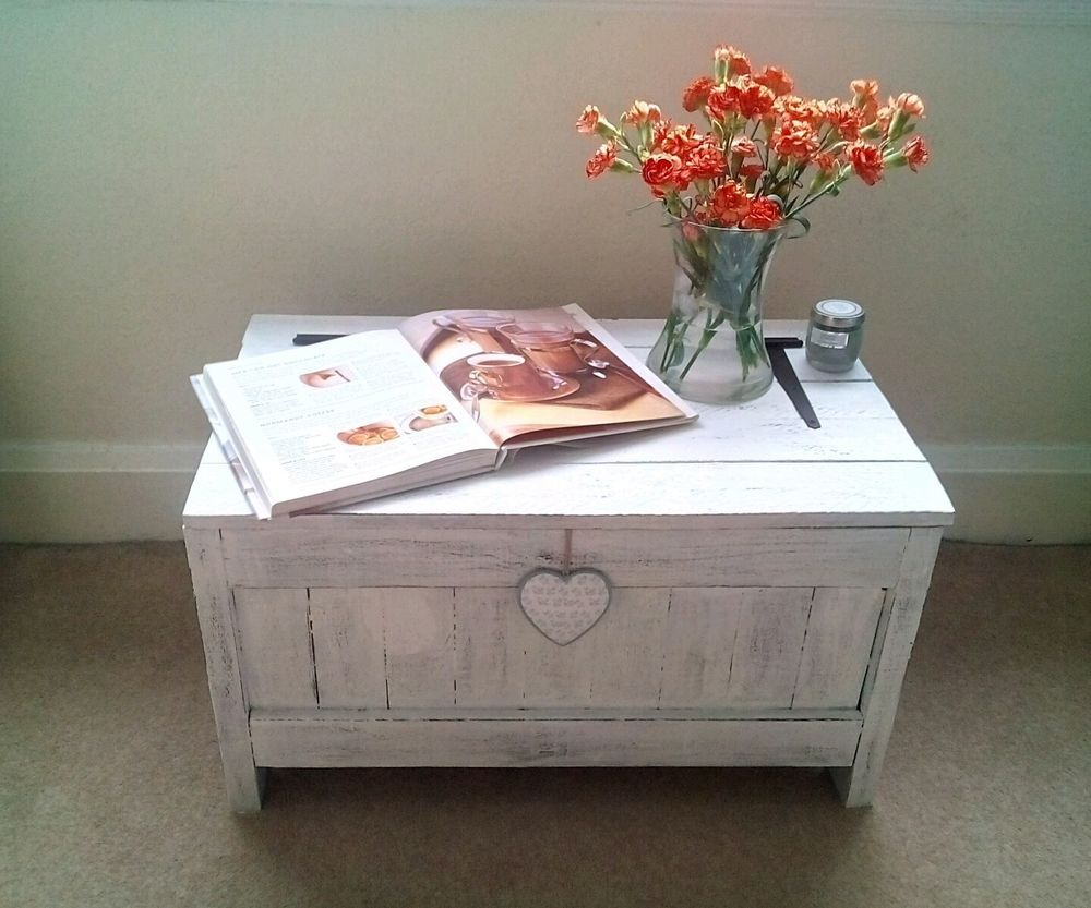 White Vintage Wooden Blanket Box Caffee Table Storage Box Pallet Chest  Handmade