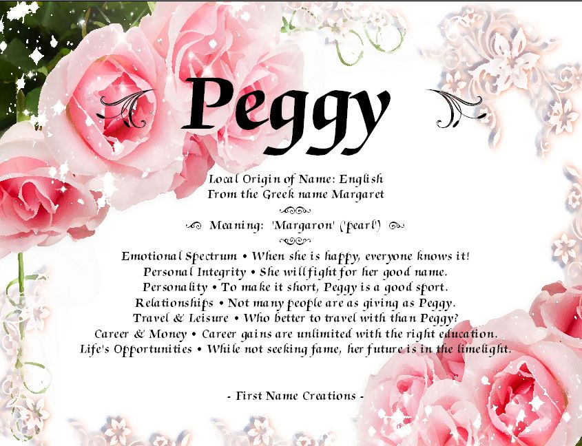 """Peggy"". My Mom's first name. Names with meaning"