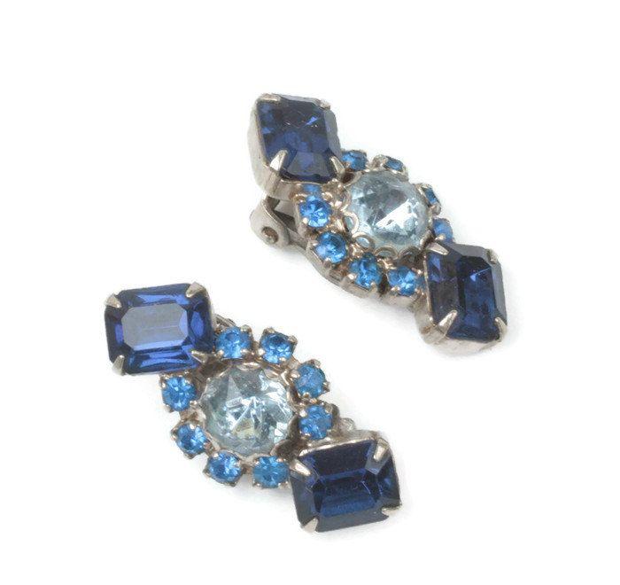 Pale Blue Rhinestone Clips Dark Blue Rhinestone Earrings Sparkly Earrings Vintage Black Japaned Metal Clip On Earrings