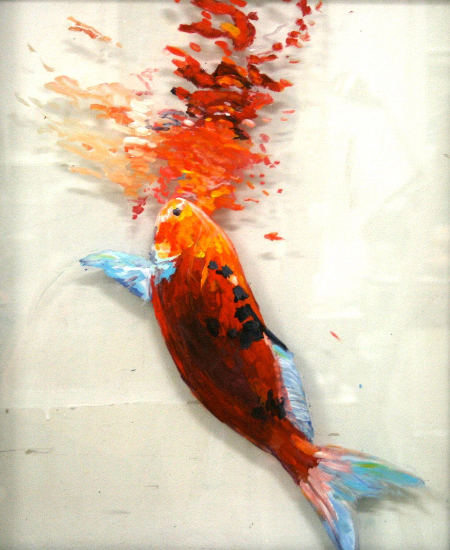 "Sip // Original Goldfish Painting  on Repurposed Window // 23"" x 19"" // Home Decor"