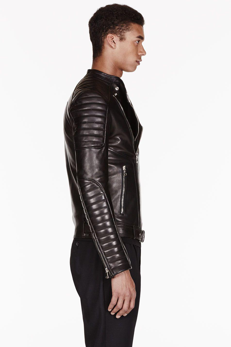 Balmain Black Leather Ribbed Biker Jacket Ssense Balmain Leather Jacket Leather Jacket Men Leather Fashion [ 1428 x 952 Pixel ]