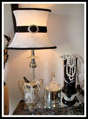 Good use of pearls ribbon on a lamp shade to kick it up a notch good use of pearls ribbon on a lamp shade to kick it up a aloadofball Choice Image