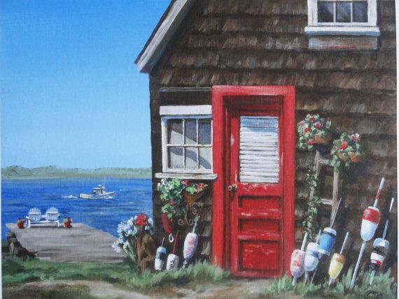 Summer Cottage Painting Maine Decor Red Door Rustic Colorful Buoys