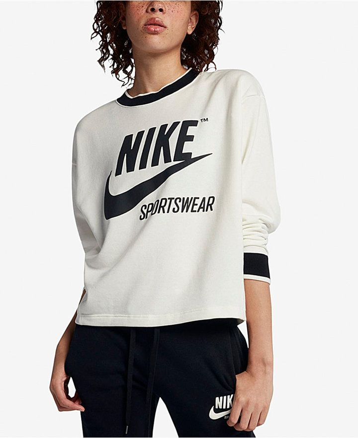 Nike Nike Sportswear Reversible Fleece Cropped Sweatshirt Red M from macys | ShapeShop