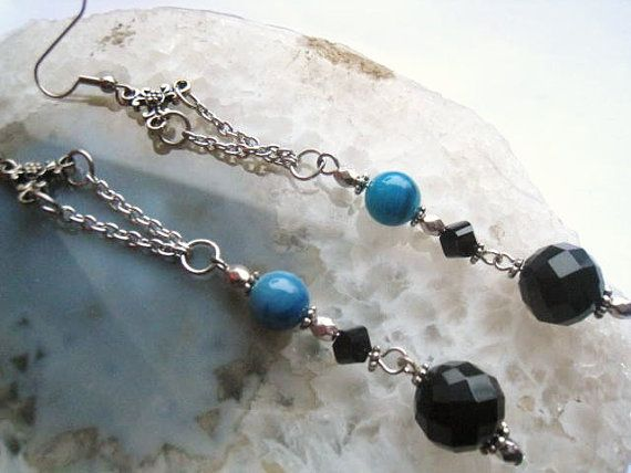 Dressy Silver Black & Blue Dangle Earrings 9 by uniquevisionsbyjen, $12.00  Buy One Get TWO Free!!