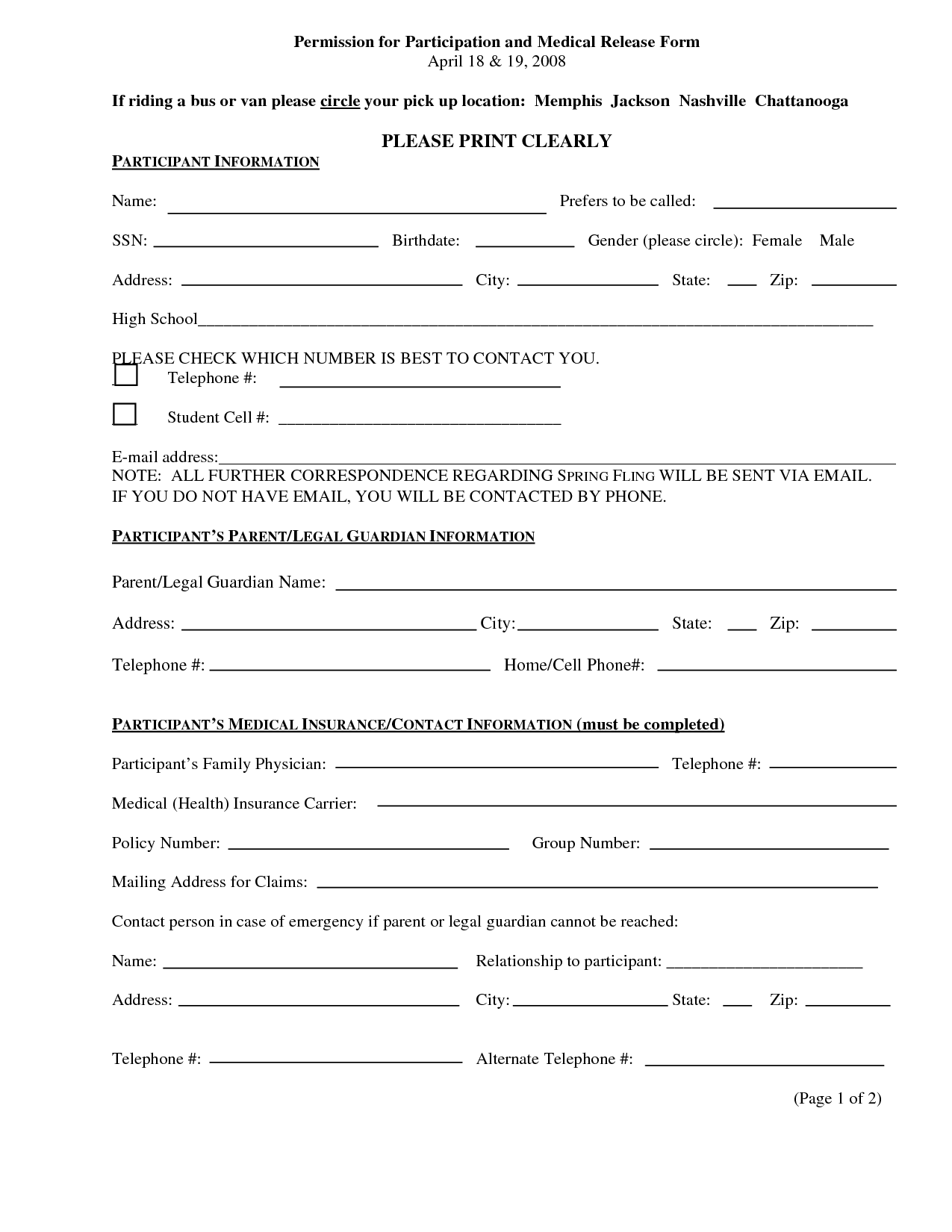 print medical release form – Equine Release Form