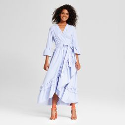 Women's Ruffle Wrap Dress Who What Wear™ Blue Stripe