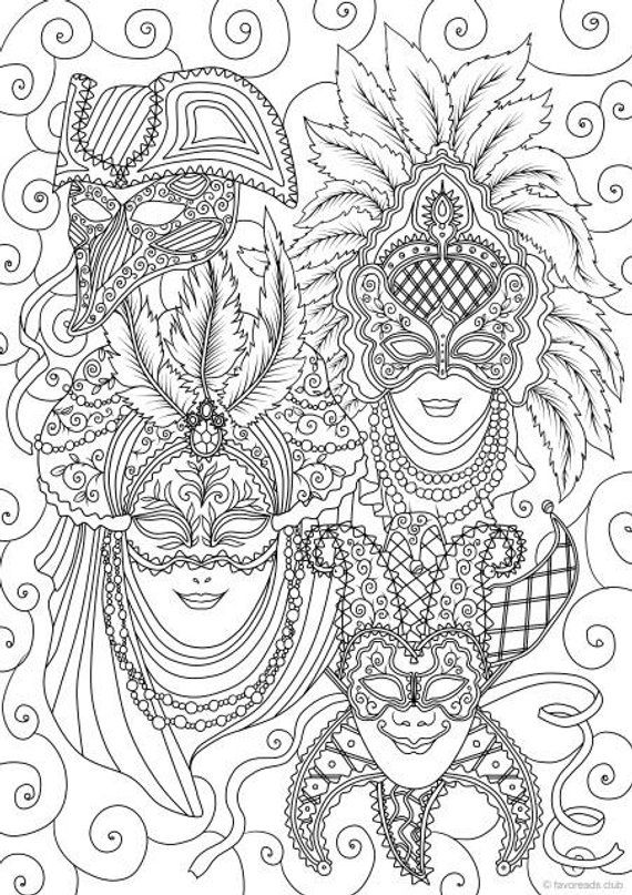 Venetian Masks Printable Adult Coloring Page From