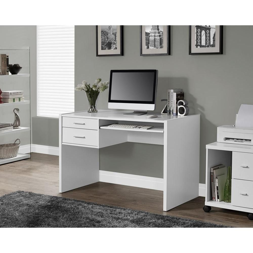 Monarch Specialties White Desk With Drawers I 7093 The Home Depot White Computer Desk White Desk With Drawers Desk With Drawers