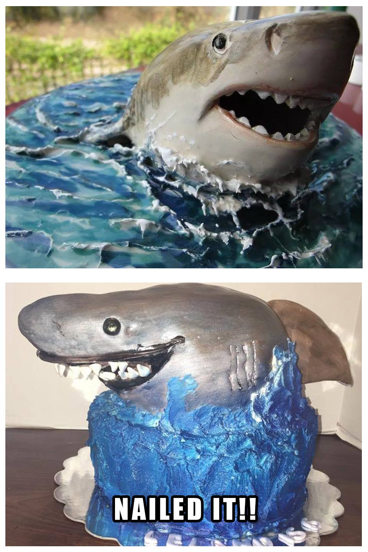 Shark Cake Nailed it Meme Hilarious Pinterest Shark cake
